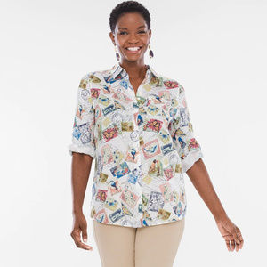 Chico's Linen Postage Stamps Blouse